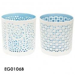 portavela ceramica blue setx2