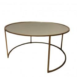 mesa circular gold con espejo